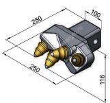 Srdíčko RM-4-250 (100x100 mm 30/38 mm) -výkovek